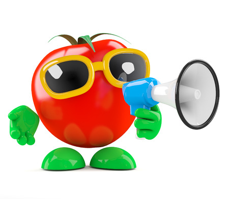 amplified: 3d render of a tomato speaking through a loud hailer Stock Photo