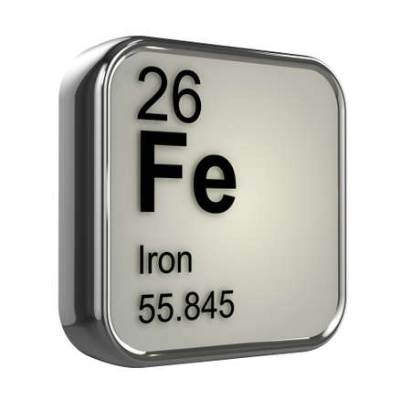 isotopes: 3d render of Iron element design