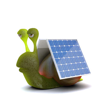 slither: 3d render of a snail with solar panels attached
