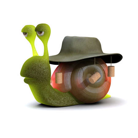 slither: 3d render of a snail wearing an Australian bush hat with corks Stock Photo