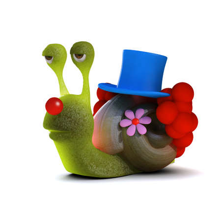 slither: 3d render of a snail dressed as a clown Stock Photo