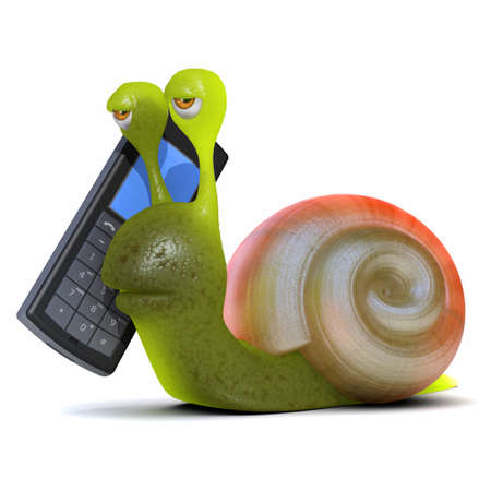 slime: 3d render of a snail chatting on a mobile phone
