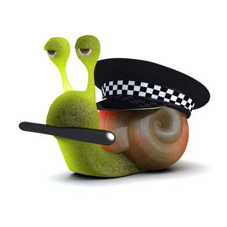 babosa: 3d de un caracol en uniforme de la policía