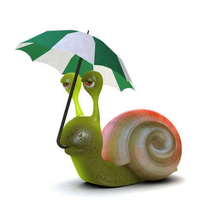 slither: 3d render of a snail under an umbrella