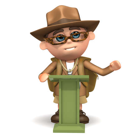 lectern: 3d render of an explorer at a lectern