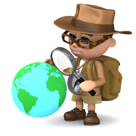 archaeologist: 3d render of an explorer studying the globe with a magnifying glass