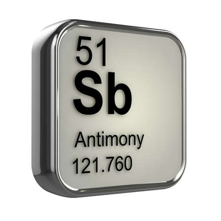 isotopes: 3d render of antimony element design