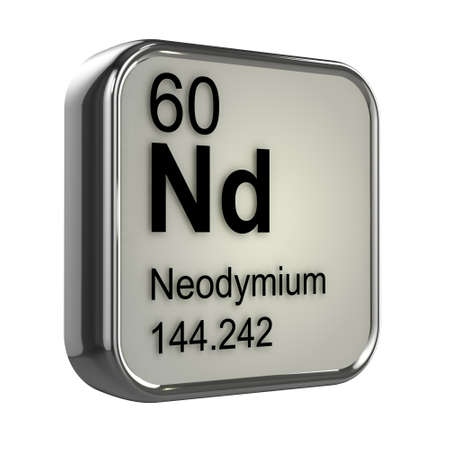 isotopes: 3d render of neodymium element design Stock Photo