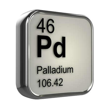 protons: 3d render of palladium element design Stock Photo