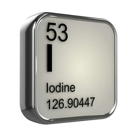 iodine: 3d render of iodine element design
