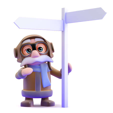 3d render of a pilot by a roadsign photo