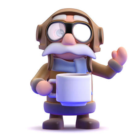 3d render of a pilot with a cup of tea photo