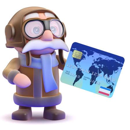 debit card: 3d render of a pilot with a debit card