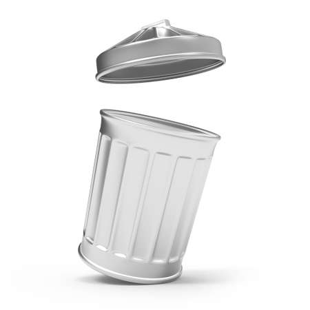 refuse bin: 3d render of a trash can leaning open Stock Photo