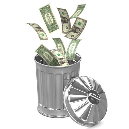 refuse bin: 3d render of dollars falling into a trash can