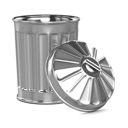 3d render of a trash can with the lid leaning against it Stock Photo