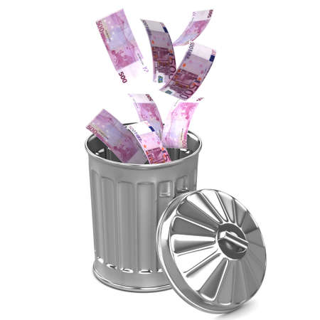 3d render of Euro notes falling into a trash can