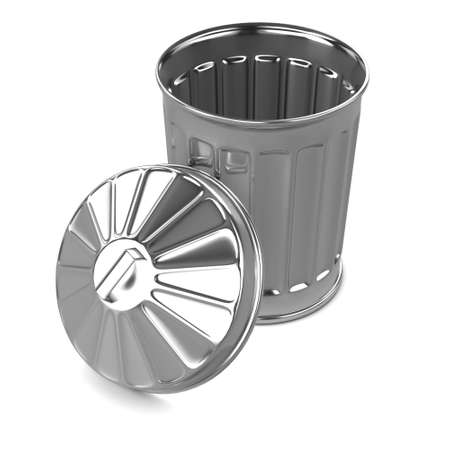 galvanised: 3d render of an open trash from the top