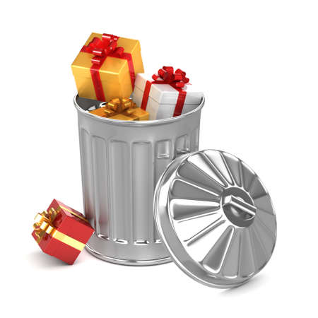 unwanted: 3d render of a trash can full of unwanted gifts
