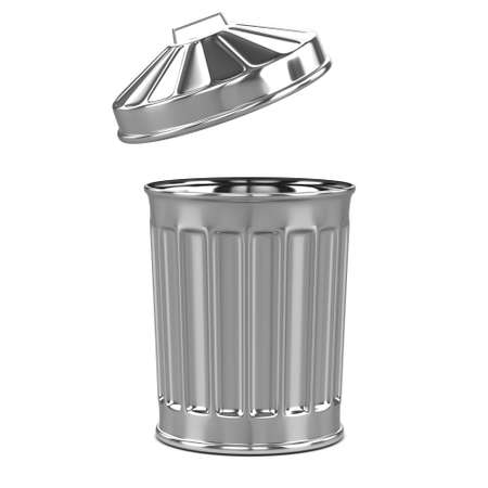galvanised: 3d render of a trash can from the side Stock Photo