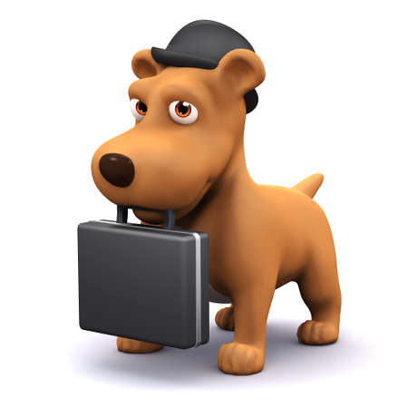 mongrel: 3d render of a dog wearing a bowler hat and carrying a briefcase Stock Photo