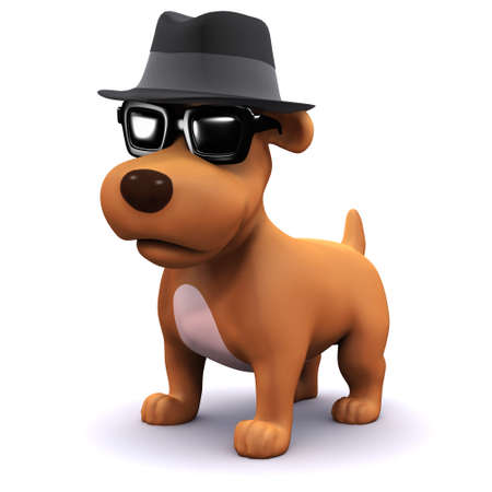 mongrel: 3d render of a dog in a trilby hat wearing sunglasses