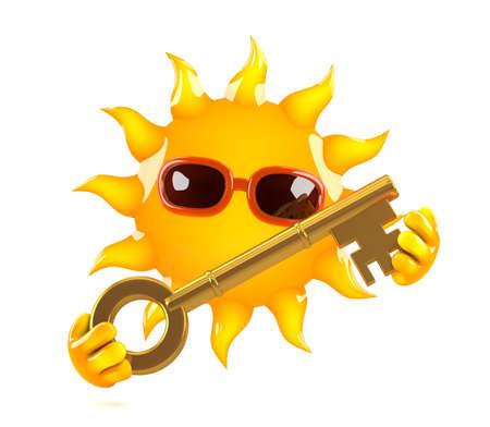 llave de sol: 3d rinden de Sun con una llave de oro