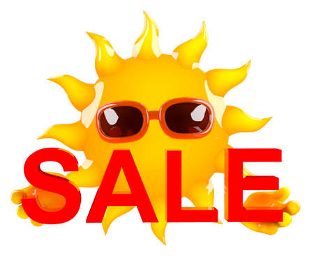 hot sale: 3d render of Sun holding a Sale sign