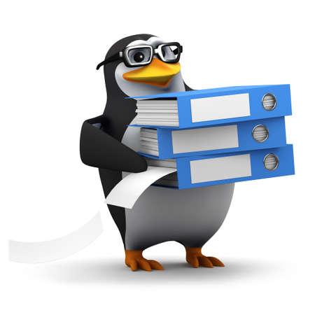 filing system: 3d render of a penguin organising his filing system