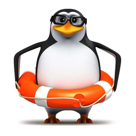 pinguino caricatura: 3d de un ping�ino en gafas que llevaba un lifering