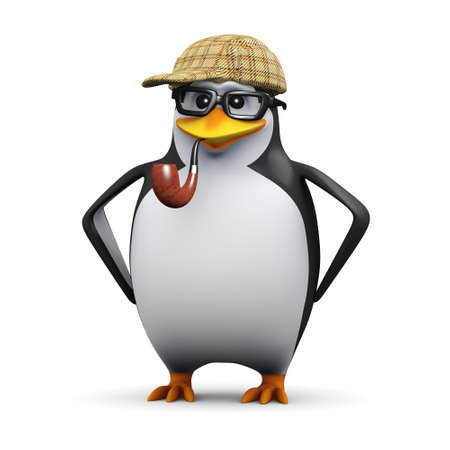 crime fighter: 3d render of a penguin wearing glasses dressed as Sherlock Holmes Stock Photo