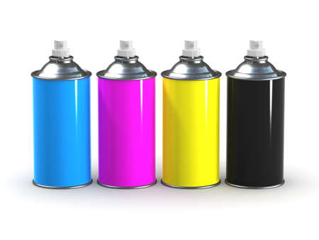 colourer: 3d render of four spray cans with CMYK colours