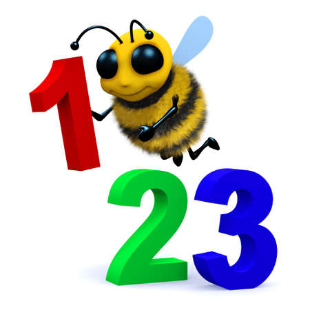 3d render of a bee and some numbers photo