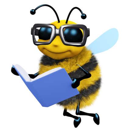 3d de una abeja de leer un libro