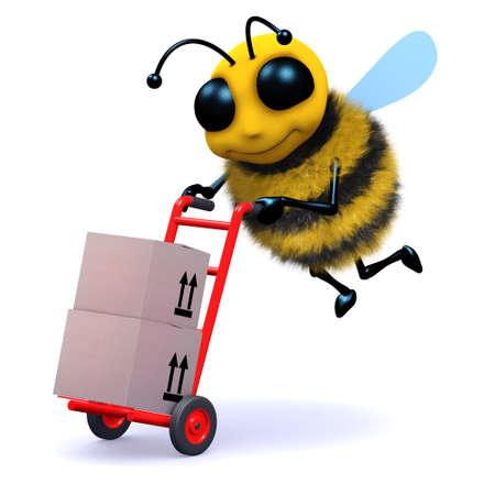 handcart: 3d render of a bee with a handcart