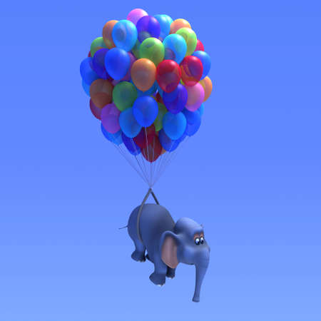 3d render of an elephant flying with the aid of many coloured balloons photo
