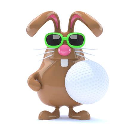 3d render of a rabbit holding a golf ball photo