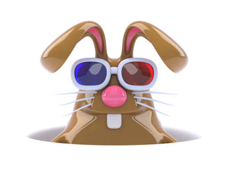 the rabbit hole: 3d render of a rabbit wearing 3d glasses peeping out of a hole in the ground Stock Photo