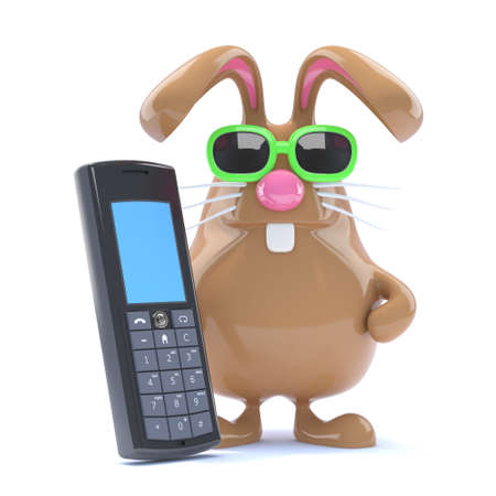 3d render of a rabbit with a mobile phone photo