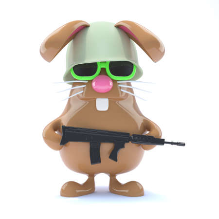 3d render of a rabbit dressed as a soldier photo