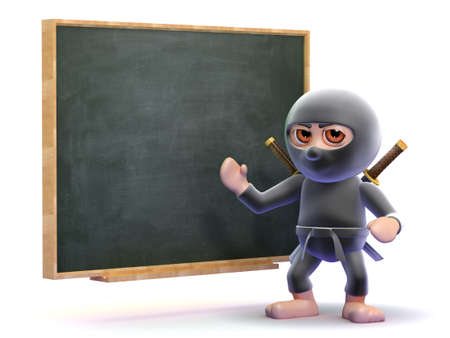 hidden danger: 3d render of a ninja at a blackboard