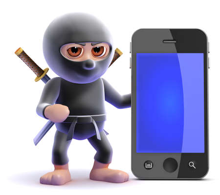 3d render of a ninja with a smartphone photo