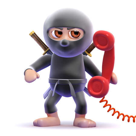 answering phone: 3d render of a ninja answering the phone Stock Photo