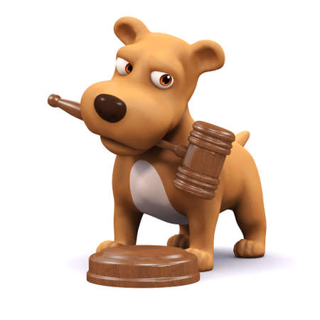 mongrel: 3d render of a dog with a gavel in his mouth Stock Photo