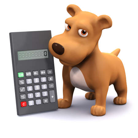 cartoon math: 3d render of a dog next to a calculator