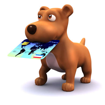 3d render of a dog with a credit card in his mouth photo
