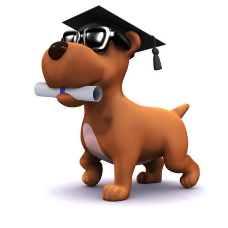 3d render of a dog wearing a mortar board and carrying a scroll in his mouth