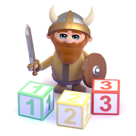 3d render of a viking with some counting blocks photo