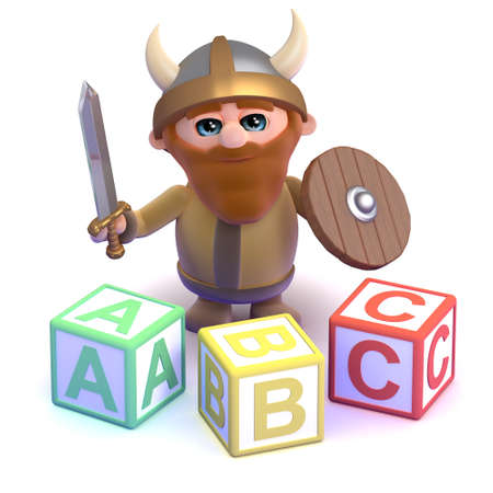 3d render of a viking with some alphabet blocks photo