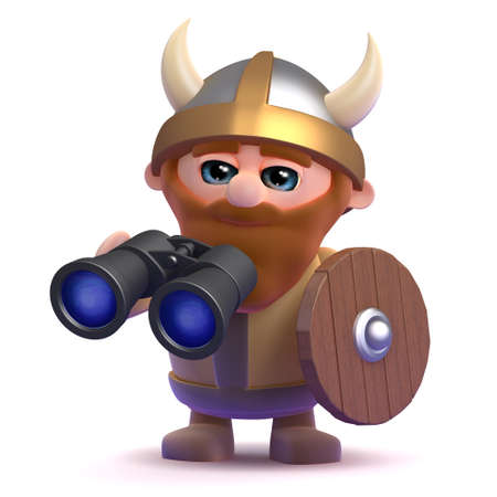 3d render of a viking holding a pair of binoculars photo